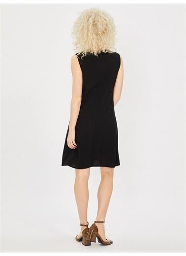 Vekem-Limited Edition Kolsuz Klasik Kesim Krep Elbise Siyah